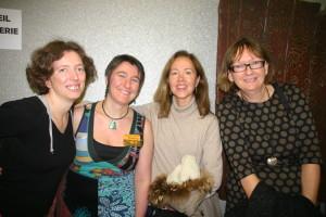 Director Michele Midori Fillion with friends at 25e Festival International du film lesbien & feministe de Paris